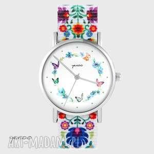 zegarki zegarek - kolorowy wianek folk biały, nato, zegarek, bransoletka