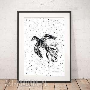 plakaty ptak plakat bialo-czarny, minimalizm plakat, ładny skandynawski