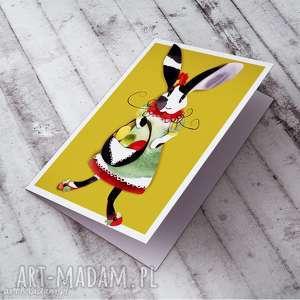 kartki wielkanocna karteczka z zającówną, wielkanocne, życzenia, królik
