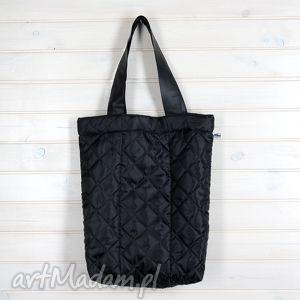 Torba pikowana Shopperka czarna, torba, pikowana, pik