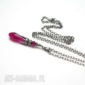 kropelka ruby - naszyjnik - srebro, oksydowane, swarovski