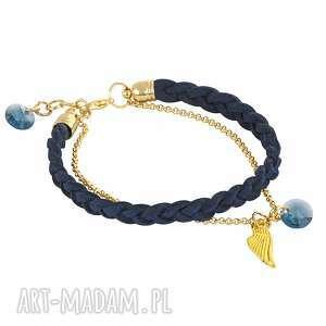 gentleness - navy blue & gold - skrzydełko, swarovski, zamsz