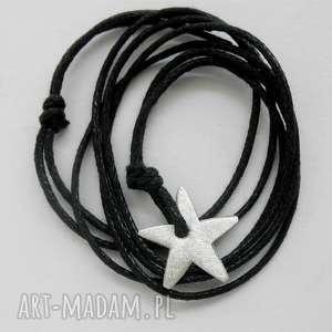 gwiazdka wisiorek, srebro, sznurek, wisiorki biżuteria