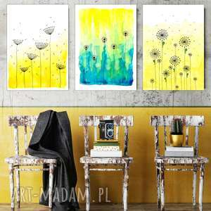 Zestaw 3 prac A2, łąka, kwiaty, akwarela, żółty, plakat, grafika