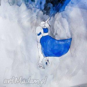 Akwarela Niebieska sukienka artystki plastyka Adriany Laube, akwarela, księżyc