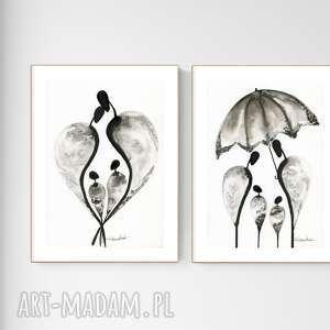 zestaw 2 oryginalnych grafiki czarno-białych a4, minimalizm, obrazy ręcznie