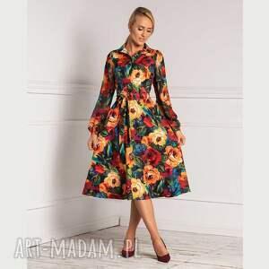 sukienka karina total midi samara, midi, rozkloszowana, elegancka, kwiaty