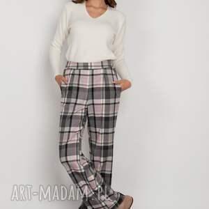 szerokie spodnie z płaskim przodem - sd124 kratka, spodnie, w kratkę