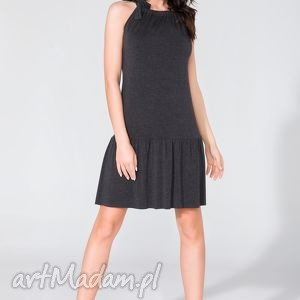 sukienka z falbanką t129 ciemnoszary - sukienka, letnia, falbanka, kokarda, wygodna