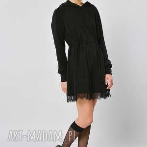 passiflora - sukienka długa bluza z kapturem, bluza, kaptur, czarna, koronka