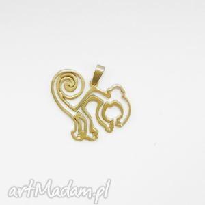wisiorek - mała małpka z nazca pozłocona, biżuteria, srebra, wisorek