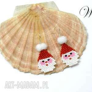 kolczyki mikołajki małe, koralikowe, kolczyki, eleganckie, wizytowe, modne