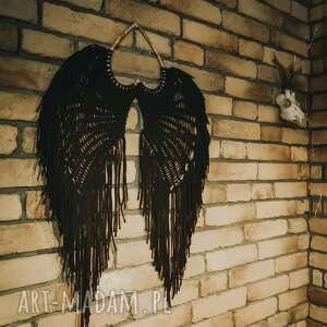 makrama skrzydła xxl czarne, dekoracja, anioła, anioł