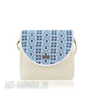 TOREBKA PURO 1127 BELARUSIAN BLUE, torebka, puro, pikowana, wzór, print