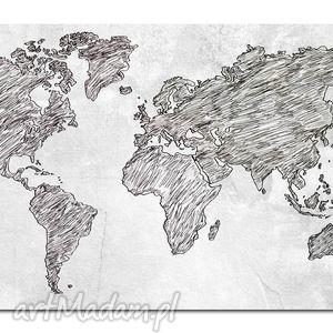 aleobrazy obraz mapa świata -dms4 - 120x70cm na płótnie, mapa, świata, obraz, szary