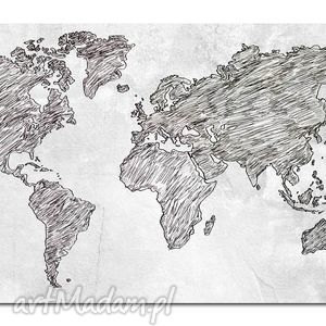 obraz mapa świata -dms4 - 120x70cm na płótnie, mapa, świata, obraz, szary