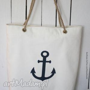 Torba w stylu marynistycznym, torba, torebka, damska, marynistyczna, kotwica, plażowa