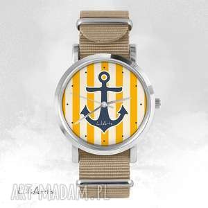 zegarek, bransoletka - żółta kotwica beżowy, nato, bransoletka, nato