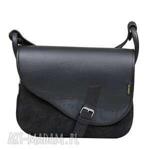 na ramię czarna listonoszka słoń torbalski 00-331-0101-s49, torebka skorzana