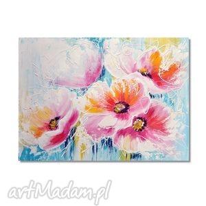pastelowe kwiaty, nowoczesny obraz do salonu ręcznie malowany,