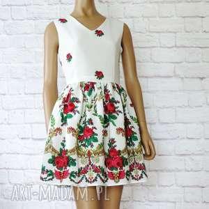 Biała sukienka góralska folk z tiulem wzór KORONA, sukienka, góralska, folkowa, cleo
