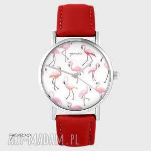 zegarek - flamingi czerwony, skórzany, zegarek, bransoletka, pasek