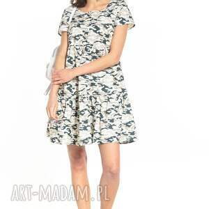 sukienka mini z dwoma falbanami i krótkim rękawem, t343, jasne moro