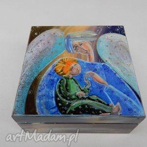 pudełka szkatułka anioł stróż z dzieckiem, szkatułka, anioł, dziecko
