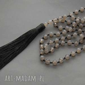 naszyjnik z agatami i chwostem, agat, elegancki, kamienie, wieczorowy, długi