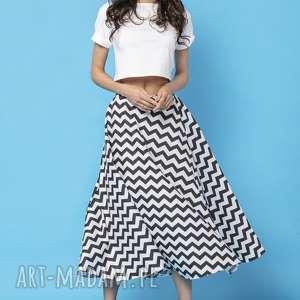 spódnica midi z tkaniny bawełnianej, mmm35, czarny zygzak, spódnica
