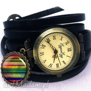 hand-made zegarki azteckie wzorki - zegarek/bransoletka na skórzanym pasku