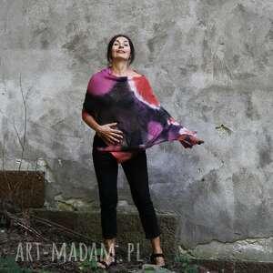 poncho ponczo - tunika czarno czerwone róż, len naturalny, narzutka, prezent