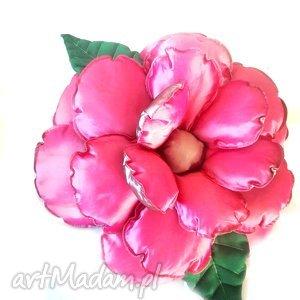 Poduszka Kwiat w szarości i różu z tafty, poduszka, kwiat, tafta