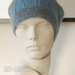 niebieska czapka alpakowa, czapka, lekka, wełniana, alpaka, paski, dziergana