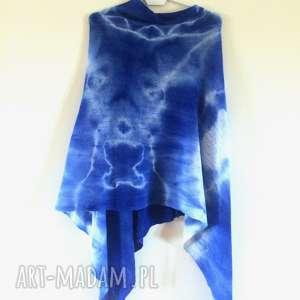 poncho ciepłe wełniane ponczo w błękitach, ponczo, sweter, wełna, narzutka