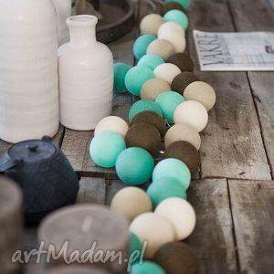 lampki cotton ball lights peppermint, lampki, girlandy, choinka, salon, pokój