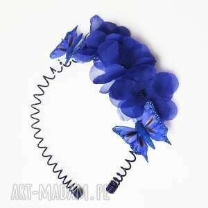 niebieskie kwiaty, opaska, niebieski, jedwab, granat, motyle