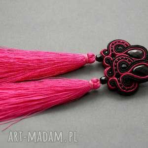 fuksjowo-czarne kolczyki sutasz z małymi chwostami, sznurek, eleganckie, wiszące
