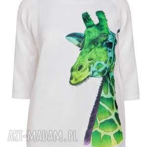 Letni sweterek z aplikacją, żyrafa, naszywki, aplikacje, bluzka, dzianina