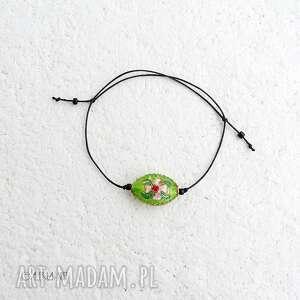 zielona bransoletka cloisonne, bransoletka, biżuteria, koralik