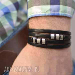 ręcznie robione męska bransoletka skórzana hombree decor ii black