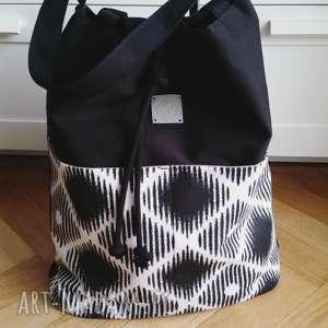 wyprzedaż shopper bag bucket black white, torba, worek, shopperbag, sznury