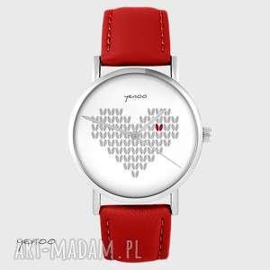 zegarki zegarek - serce dziergane, szare czerwony, skórzany