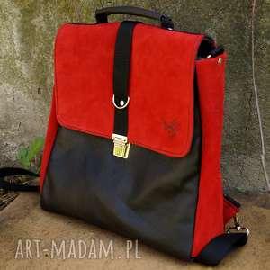plecak/teczka czarno-czerwona, czerwony, czarny, plecako torba, zamsz, skóra