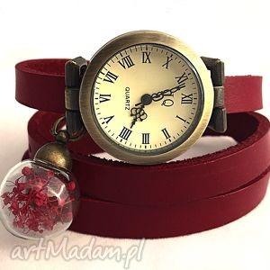 romantyczna czerwień - zegarek bransoletka na skórzanym prawdziwe