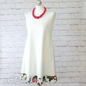 sukienki dresowa trapezowa sukienka folk kwiaty góralska, sukienka, dresowa
