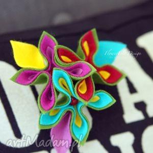 colors broszka kwiatowa - kwiaty, kwiat, kolorowy, biżuteria, broszka, filc
