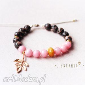 golden twig in pink, kamienie, naturalne, jadeit, jaspis, zawieszka, sznurek