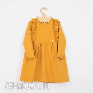 Sukienka z falbankami, falbanki, musztardowe