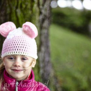 ubranka czapka myszka, czapka, prezent, handmade, dziecko, włóczka, wiosna